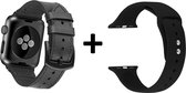 4mobilez Iwatch 1/2/3/4/5 bandjes Zwart Leder en Siliconen 42/44 mm