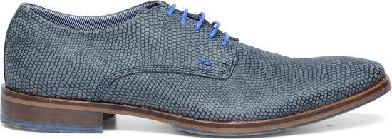 Sacha - Heren - Derby veterschoenen met lizard print blauw - Maat 41