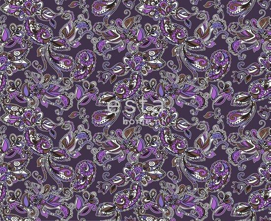 ESTAhome stof funky flowers en paisleys paars | 186804 | 157 cm|