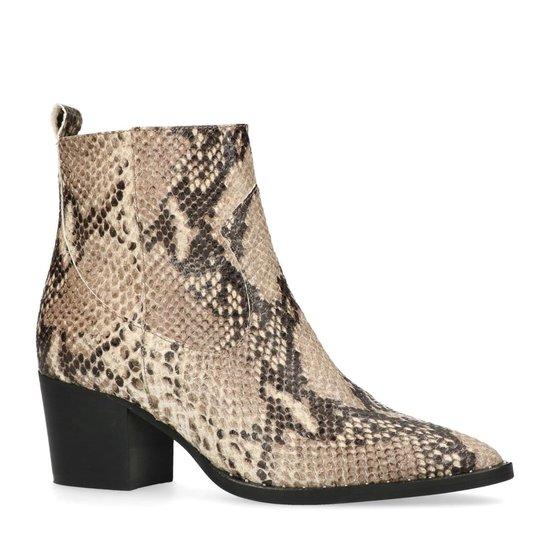 | Manfield Dames Beige snakeskin enkellaarsjes