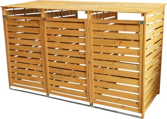 Containerberging - Driedubbel - Hout - 3 x 240L containers - 198x81x120 cm - vergrendelbaar - kliko ombouw