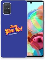 Samsung Galaxy A71 Siliconen hoesje met naam Never Give Up