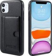 Xssive Hard Cover Card Bag voor Apple iPhone 11 (6.1) - geschikt voor 1 pasje – Zwart