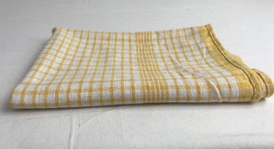 Theedoek Geblokt Geel 50x70 cm (set van 6)