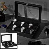 Decopatent® Luxe horlogebox voor 12 horloges - Horloge box voor Dames en Heren horloges - Horlogedoos - Horlogekist - Zwart