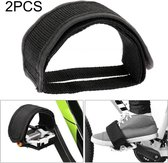 2 PCS Bicycle Pedals Bands Feet Set With Anti-slip Straps Beam Foot (Black)
