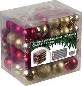 4seasonz kerstballenset - 120 stuks - Kunststof - Goud/Bordeaux
