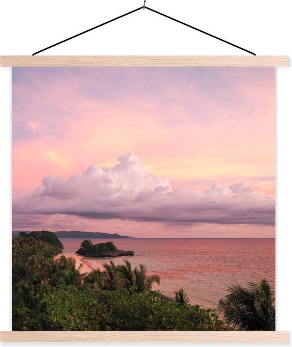Zonsopkomst bij het eiland Boracay in de Filipijnen textielposter latten blank 60x60 cm - Foto print op schoolplaat (wanddecoratie woonkamer/slaapkamer)