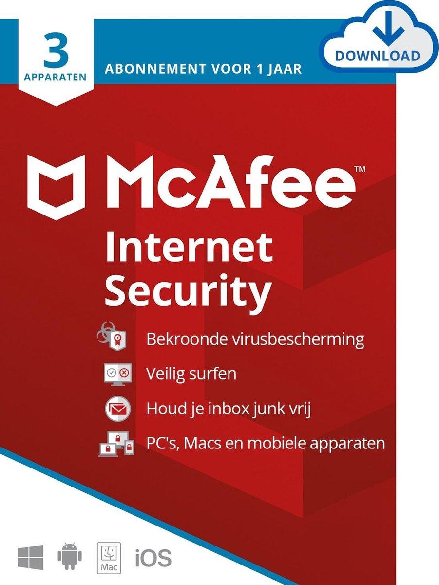 McAfee Internet Security - 12 maanden/3 apparaten - Nederlands - PC/Mac Download