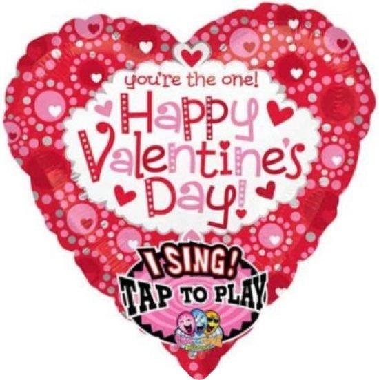 Folieballon - Happy valentines day - Met muziek - 74cm - Zonder vulling