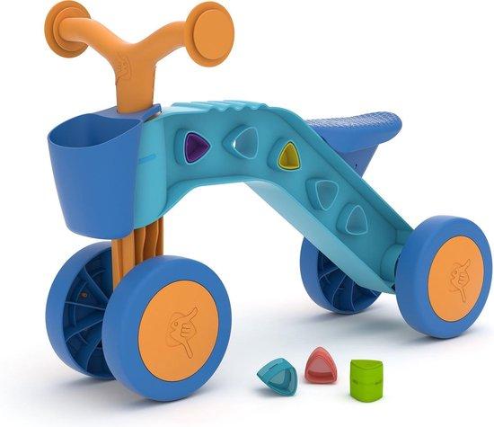 Chillafish Itsibitsi Blocks eerste vierwieler met mandje en speelblokjes in het frame voor personalisering en het oefenen van de fijne motoriek. Voor kinderen van 1-3 jaar.