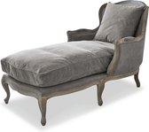LOBERON Chaise longue Muel grijs/bruin