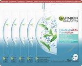 Garnier Skinactive Face Pure Active Tea Tree Sheet Mask - 5 Stuks - Gezichtsmasker tegen Onzuiverheden