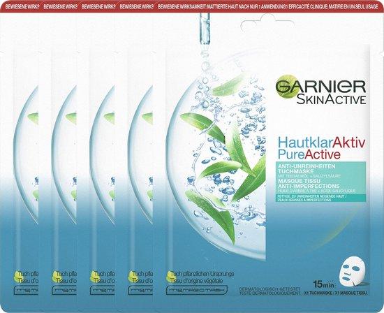 Garnier Skinactive Face Pure Active Tea Tree Sheet Mask - 5 Stuks