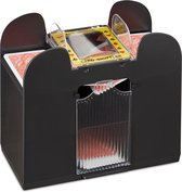 relaxdays Kaartschudmachine 6 decks - elektrische schudmachine voor speelkaarten - zwart