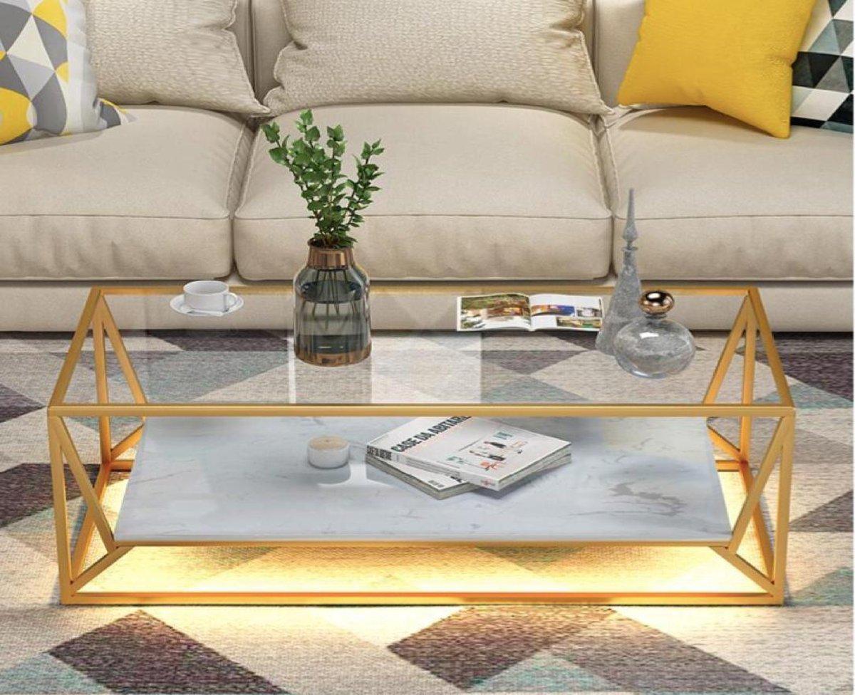 A.A Productions Bijzettafel Salontafel Tafel Luxurious Table Marble bijzettafel Marmer Met licht Tafeltje Premium decoratie Decoratie Glazen tafel online kopen