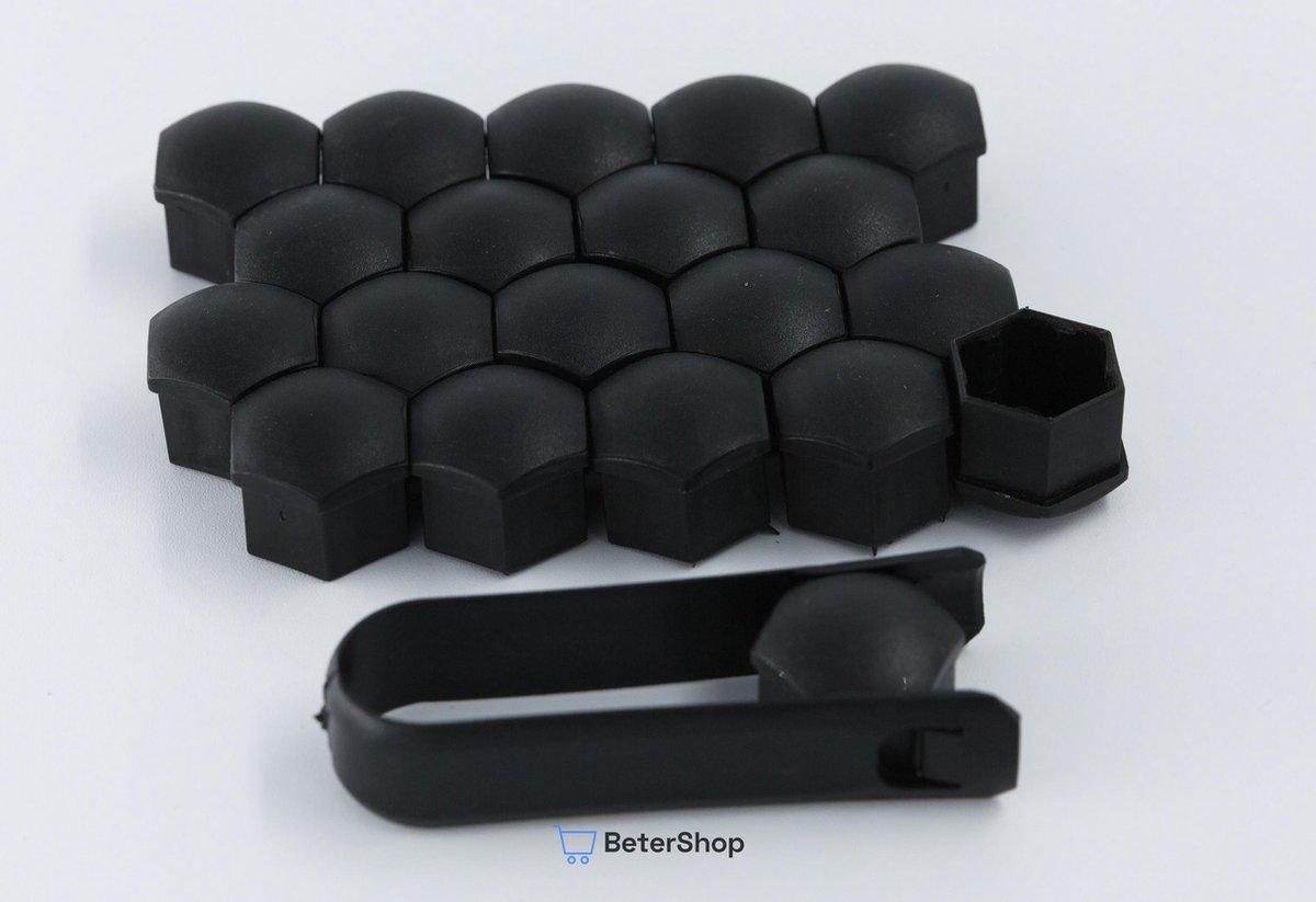 Wielmoerkapjes 19 mm - Zwart Matt - Kunststof - Set van 20 stuks incl. tweezer tool - Universeel