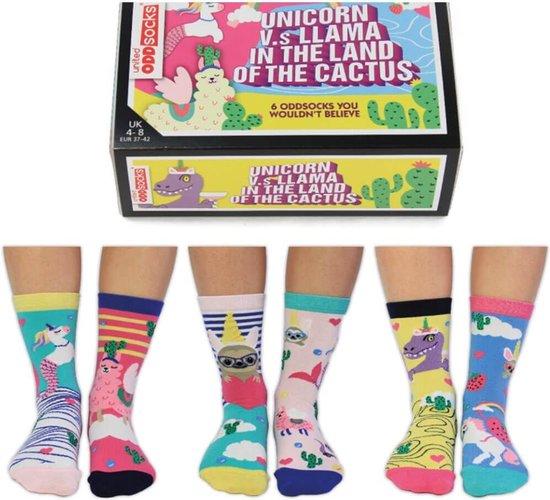 Mismatched socks - Cadeau doosjes verschillende sokken - 6 sokken -  Unicorn vs Llama - maat 37 tot 42