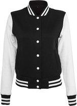 Build Your Brand Dames/dames Sweat College Jacket (Zwart/Wit)