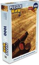 Puzzel 1000 stukjes volwassenen Ouderwets navigatiemateriaal 1000 stukjes - Wereldkaart met oude navigatiematerialen  - PuzzleWow heeft +100000 puzzels
