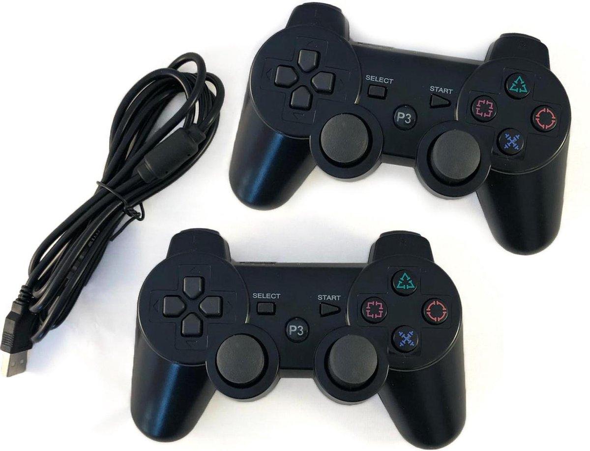 2x  PS3 controller Bluetooth Controller Draadloos voor Playstation 3 met shock functie - Zwart