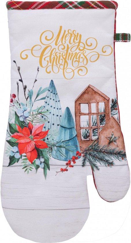 Amo La Casa Ovenwanten Merry Christmas 18 X 24 Cm Katoen Wit
