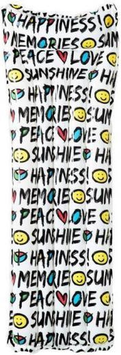 luchtbed Summer Quotes 183 x 69 cm PVC wit