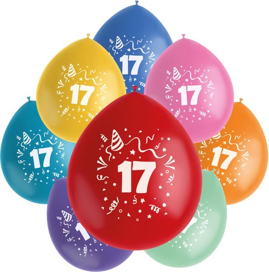 Folat Ballonnen Color Pop 17 Jaar 23 Cm Latex 8 Stuks