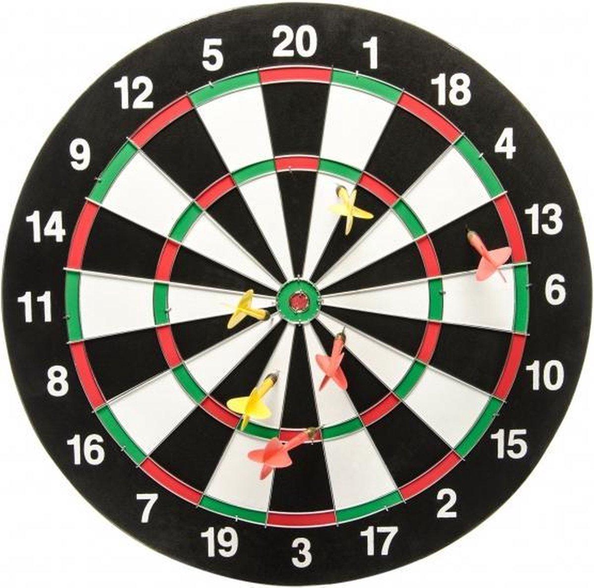 dartbord dubbelzijdig met 6 steeltip dartpijlen
