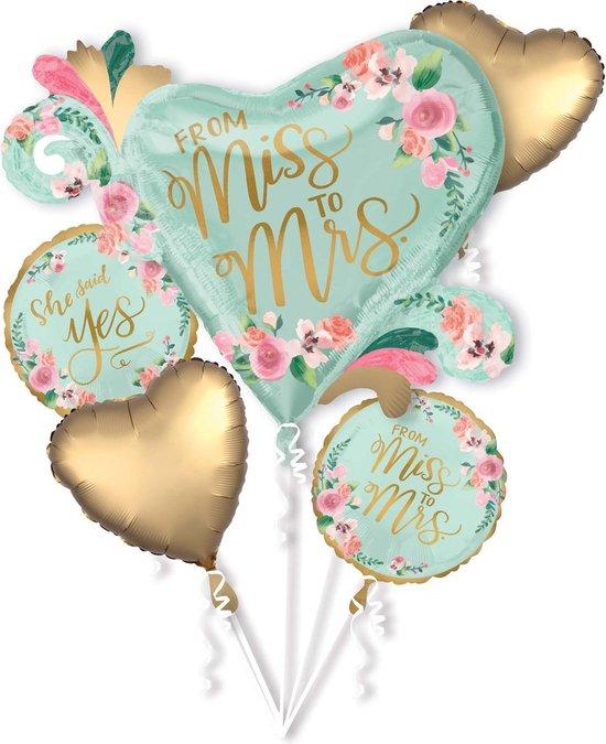 Aluminium Miss to Mrs ballonnen boeket - Feestdecoratievoorwerp