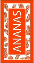 Luxe badlaken/strandlaken handdoek 90 x 170 cm - Ananas oranje/wit annanas/tropische print
