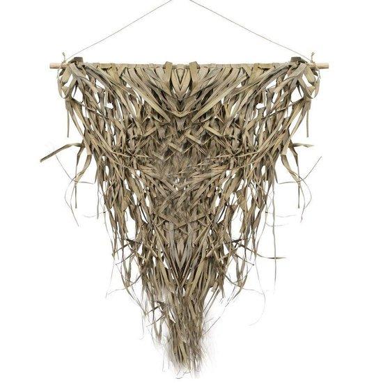 Wandkleed naturel gevlochten palmblad driehoek 75cm aan stok