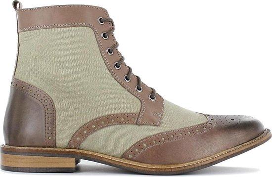 19V69 ITALIA Heren Business Laarzen Boots Schoenen Grijs-Bruin V60-C192 - Maat EU 44 UK 9.5
