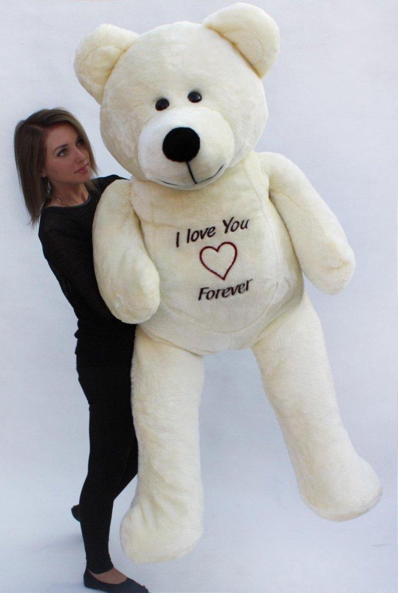 Grote teddebeer / knuffelbeer 155cm - I love you - Wit