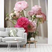 Fotobehang vinyl - Roze boterbloemen op een wazige achtergrond breedte 260 cm x hoogte 260 cm - Foto print op behang (in 7 formaten beschikbaar)