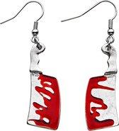 WIDMANN - Bloederige hakmes oorbellen voor volwassenen - Accessoires > Sieraden