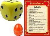 Sinterklaas spel met gele dobbelsteen en timer/wekker/alarm - Pakjesavond Sinterklaasspel dobbelstenen set