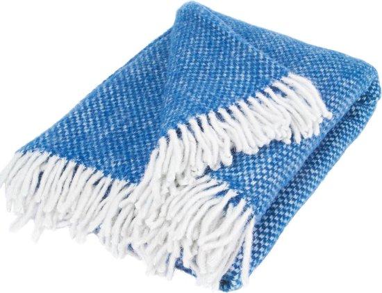 Warme deken/plaid   100% biologische Merino wol   170 x 130 cm   blauw blokjesdessin   Happy Sheep