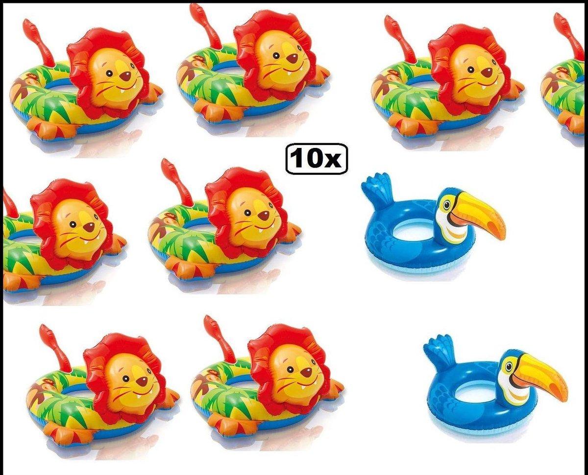 10x Zwemband opblaasbaar Leeuw en Toekan