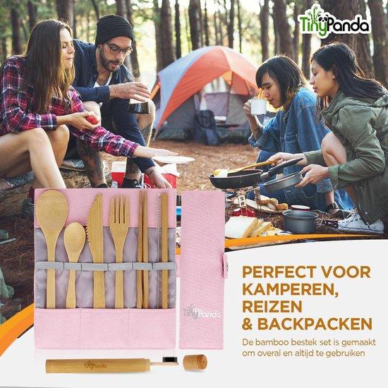 Bestek Set Roze van Bamboe met Bamboe Tandenborstel - Herbruikbaar Bamboe Servies - Camping Bestek - Bamboo Cutlery Set– Handig voor op reis - 10-delig met o.a. een herbruikbaar Bamboe Rietje