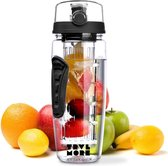 TravelMore Waterfles met Fruit Infuser – 100% BPA Vrij – Zwart - 900ML