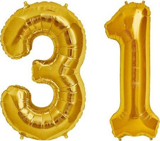 Cijfer 31 Goud Helium 86 cm Excl. Helium