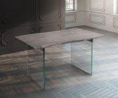 Massief houten tafel Live-Edge acacia platinum 140x90 boven 3,5 cm glazen poten boomtafel