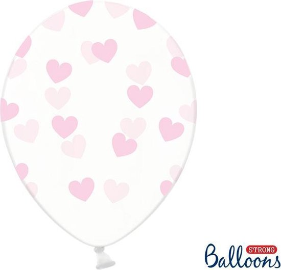 Partydeco 50 Ballonnen in zak hartjes crystal - Roze 30cm - OP = OP