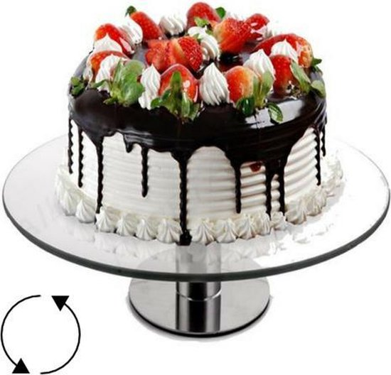 Taartplateau op voet   draaibaar   taartplateau glas   roterend   decoratie   presenteren  