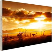 Kangoeroe bij zonsondergang Hout 120x80 cm - Foto print op Hout (Wanddecoratie)