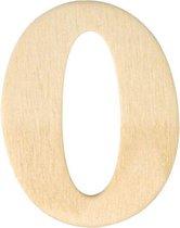 Houten cijfer 0 van 4 cm