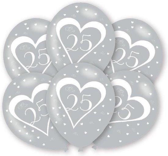 6 Latex Balloons Silver Anniversary