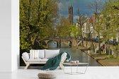Kleurrijke omgeving langs de grachten in het Nederlandse Utrecht fotobehang vinyl 390x260 cm - Foto print op behang