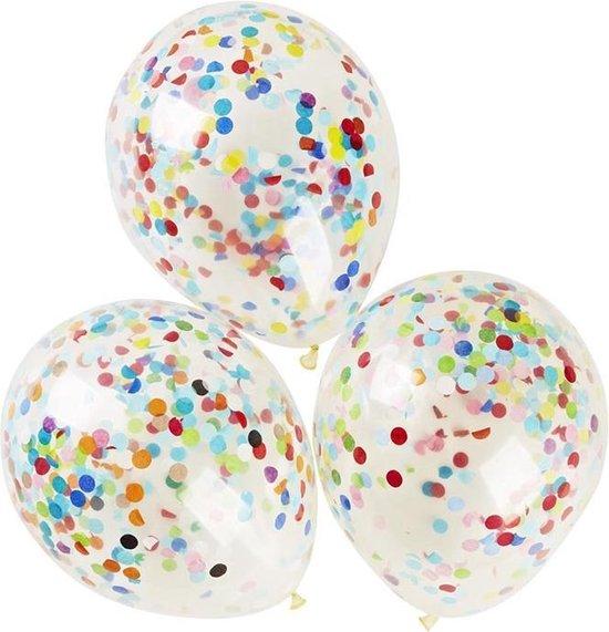 Transparante Confetti Ballonen 30 CM Groot - Grote Doorzichtige Latex Party Balonnen - 10 Stuks